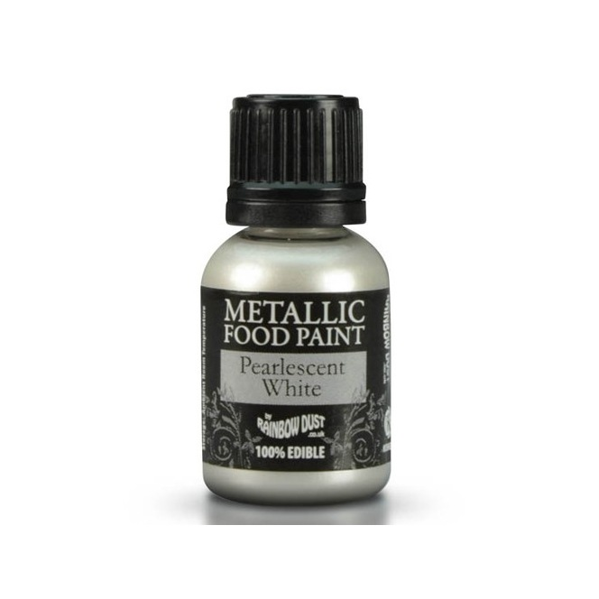 Metallic Food Paint - White- Rainbow Dust