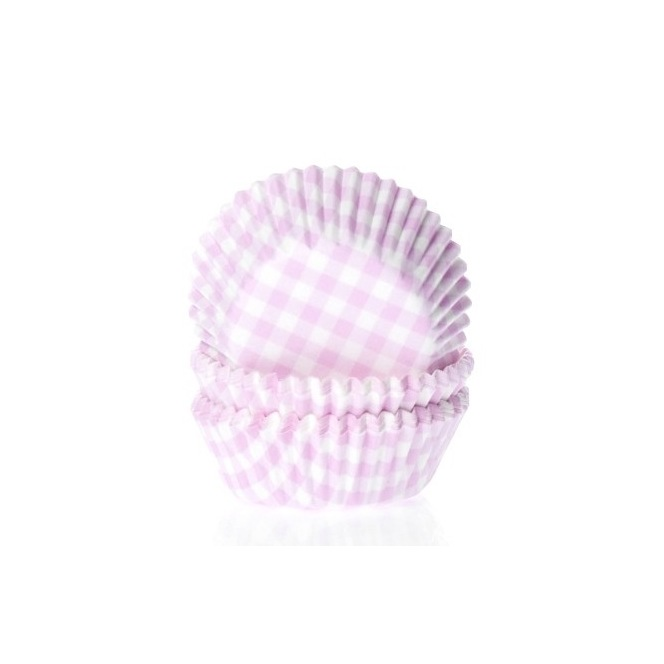 Mini baking cups Gingham Pink - 60pk - HoM