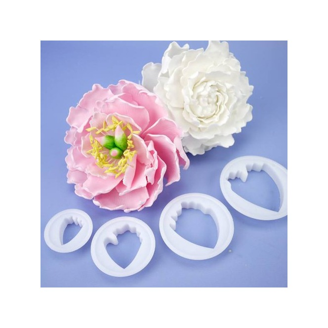Gum Paste Cut Outs -Peony- set/4- Wilton
