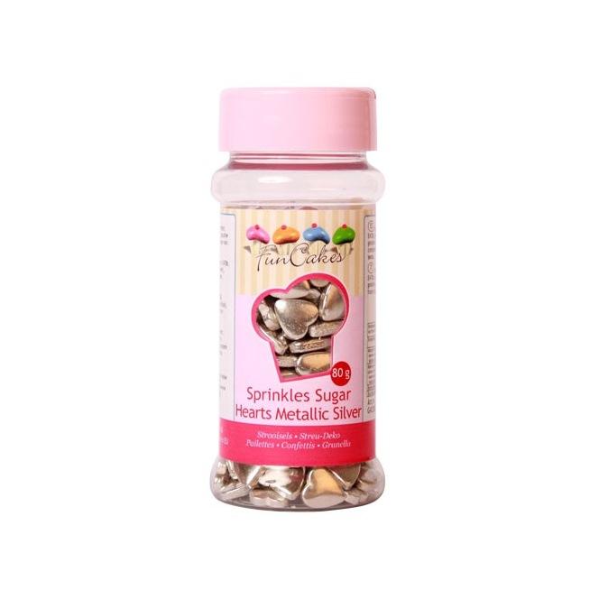 FunCakes Sugar Hearts Metallic Silver 80g