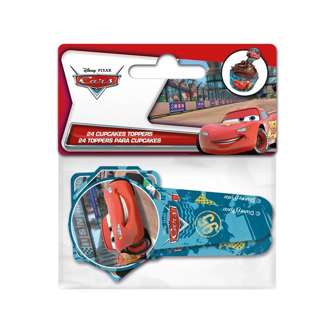 Stor Paper Cupcake Toppers Cars pk/24