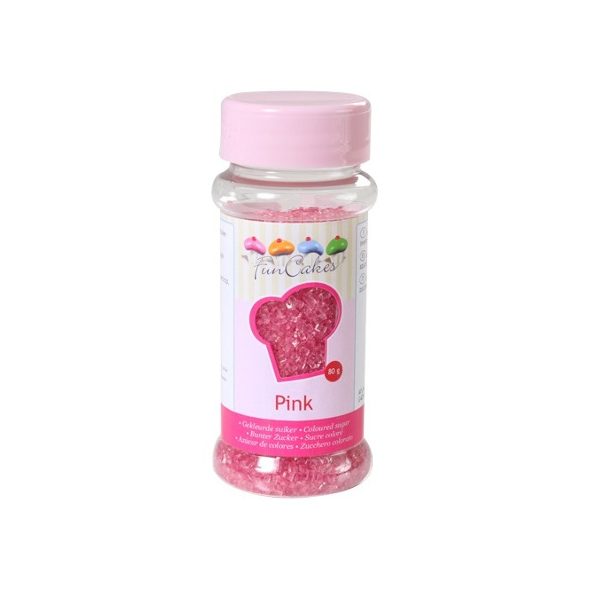 Coloured Sugar -Pink- 80g - Funcakes