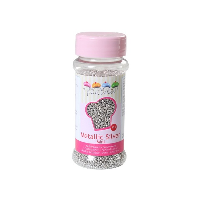 Funcakes Sugarpearls Metallic Silver Mini 80g