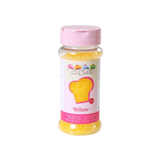 Coloured Sugar Yellow 80g Funcakes