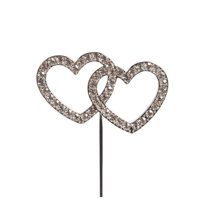 Diamante Double Heart Pic