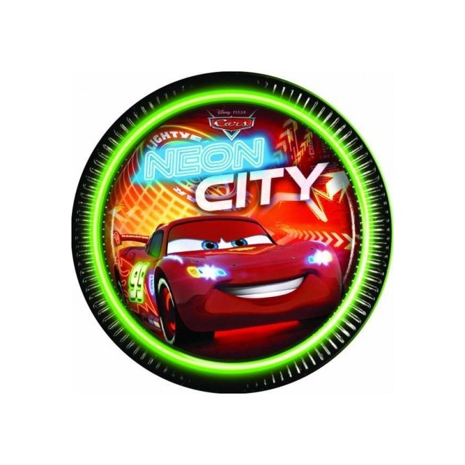 8 paper plates - Cars Neon City