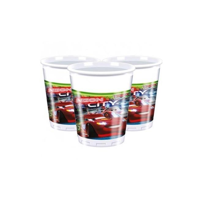 8 Plastic Cups - Cars Neon City
