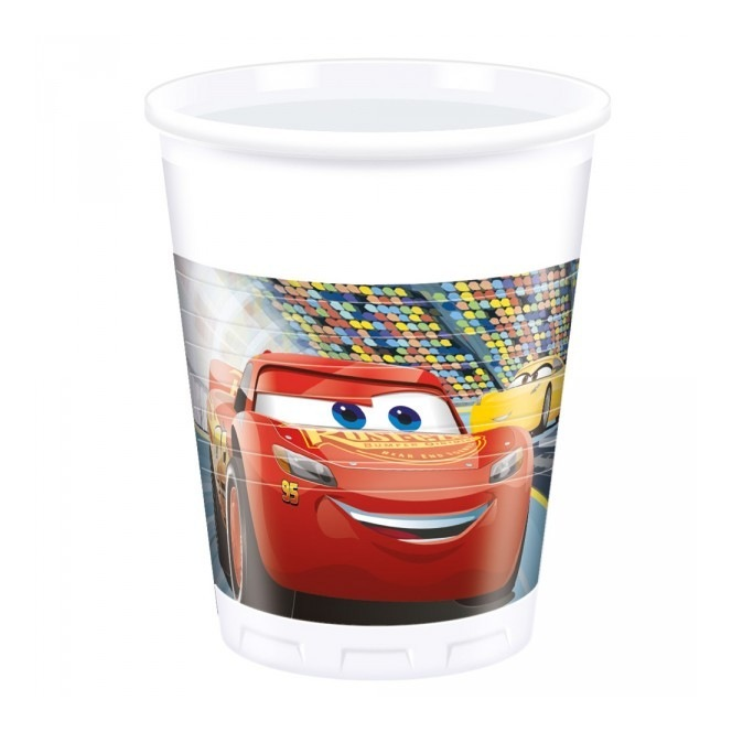 8 Plastic Cups - Cars