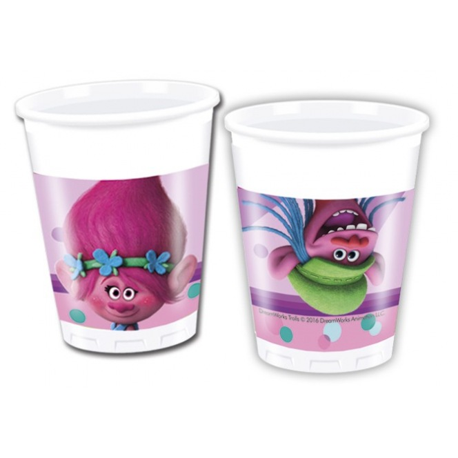 8 Plastic Cups - Trolls