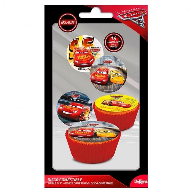 Disque en sucre pour cupcakes Cars 16pc