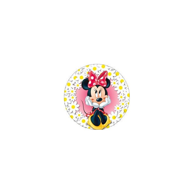 Wafer disc  Minnie and the daisies flowers - 20cm