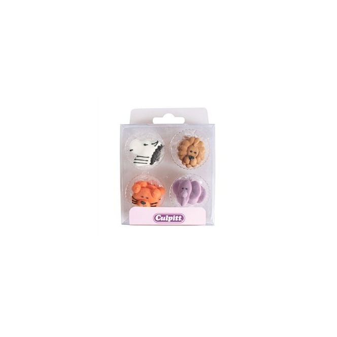 Animal Faces Sugar Decorations - 12pc - Culpitt