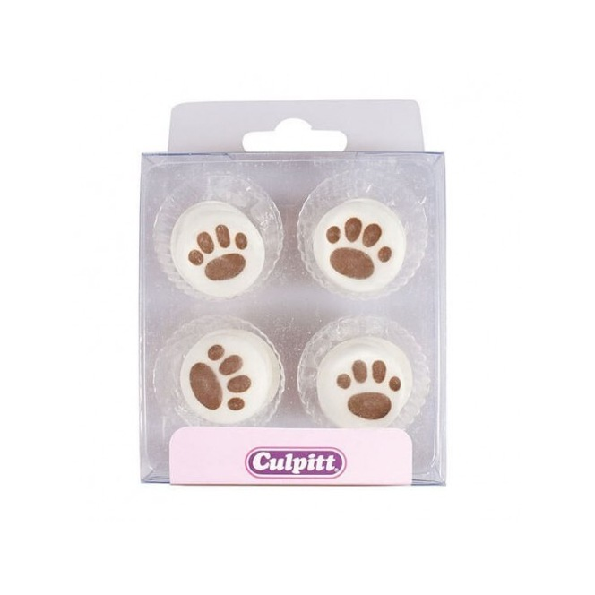 Paw Print  Sugar Decorations - 12pc- Culpitt