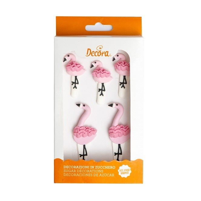 Décorations en sucre - Flamant Rose - 5pc