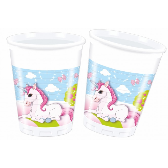 8 Plastic Cups - Unicorn