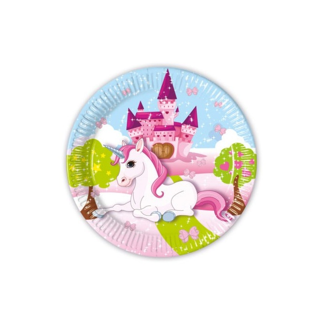 8 paper plates - Castle Unicorn