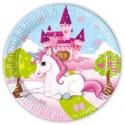 8 paper plates - Castle Unicorn