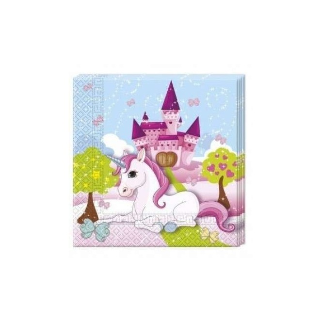 20 Napkins - Castle Unicorn