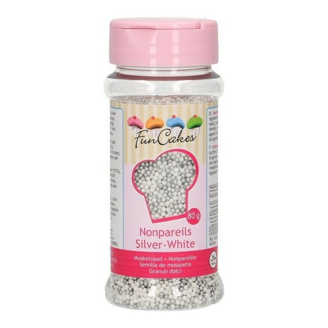 Nonpareils Silver White 80g - Funcakes