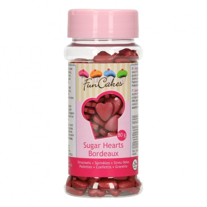 FunCakes Sugar Hearts Burgundy 80g
