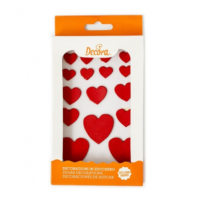 Sugar Decorations - Red Hearts - 16pcs - Decora