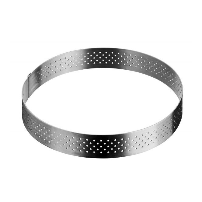 Stainless Steel Perforated tart ring 18.5cm - De Buyer