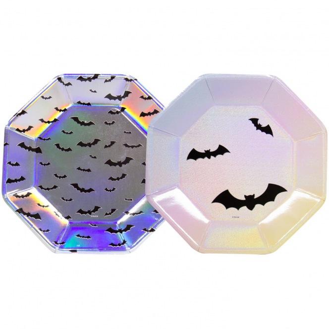 6 Octogonal Halloween Plates - Pearly Bats - Folat
