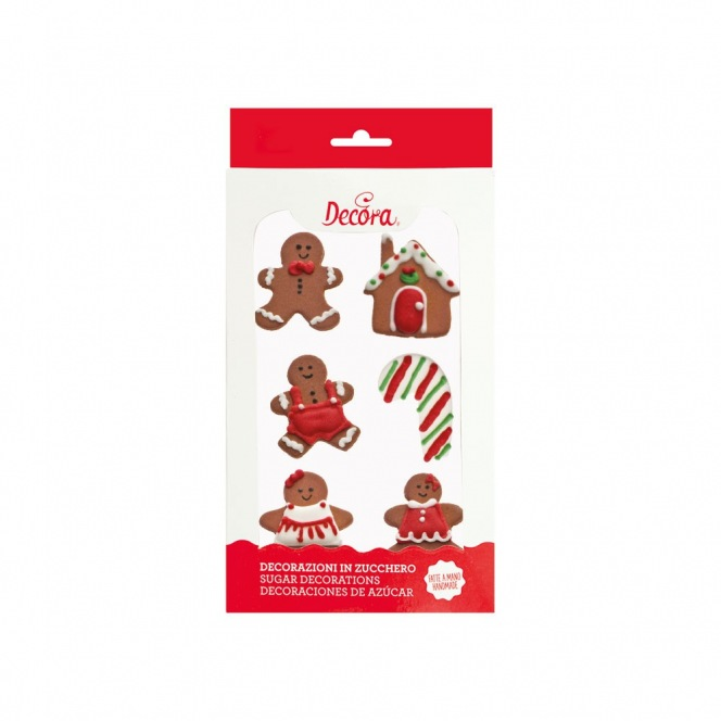Sugar Decorations - Gingerbread - 6pcs - Decora