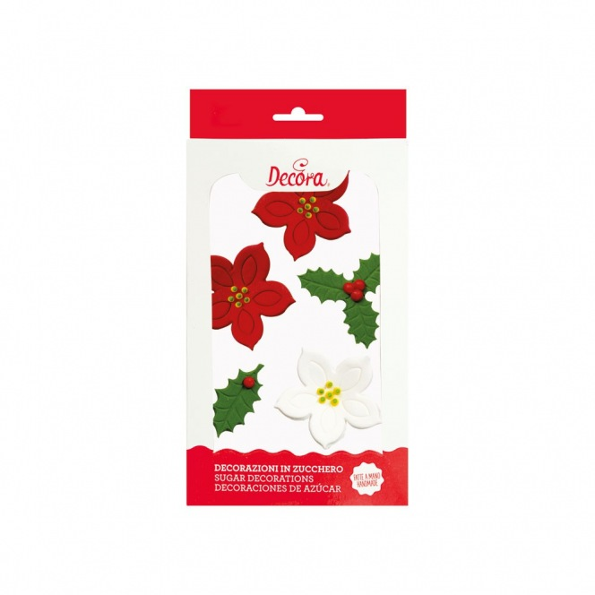 Sugar Decorations - Poinsettia & Holly Leaves - 6pcs - Decora
