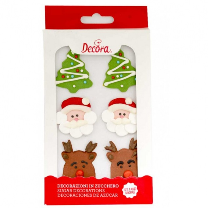Sugar Decorations - Christmas Decorations - 6pcs - Decora