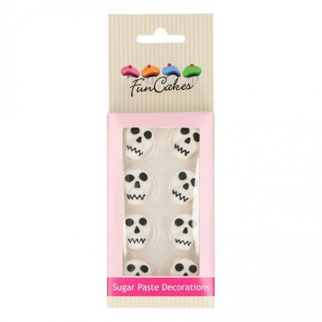 FunCakes Sugar Paste Decorations Skulls Set/8