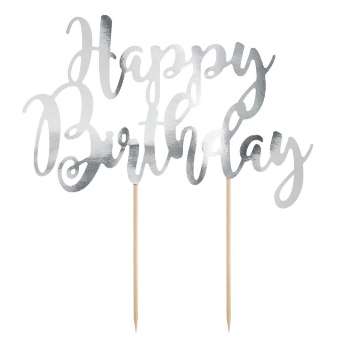 Cake topper Happy Birthday - Silver - PartyDeco
