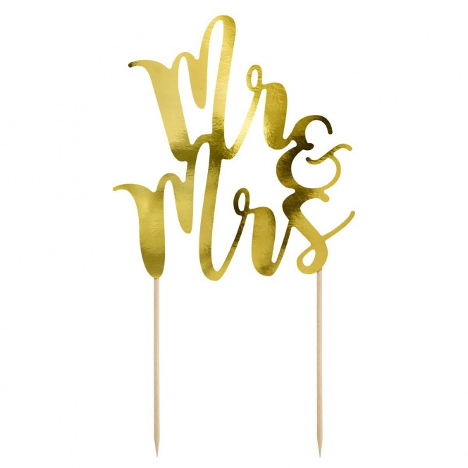Cake topper Mr&Mrs - Gold - PartyDeco