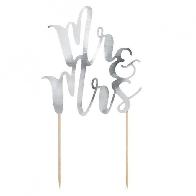 Cake topper Mr&Mrs - Silver - PartyDeco