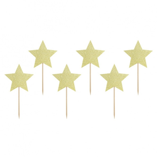 Cupcake Toppers - Stars 6pcs - PartyDeco