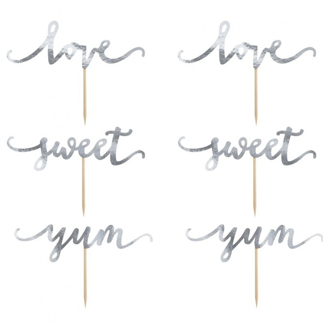 Cupcake Toppers - Love Silver 6pcs - PartyDeco