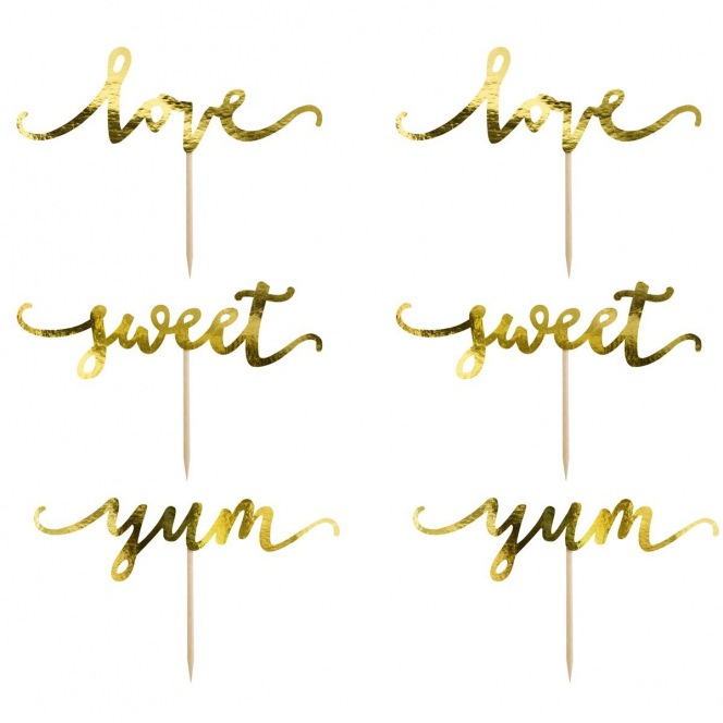 Cupcake Toppers - Love Gold 6pcs - PartyDeco