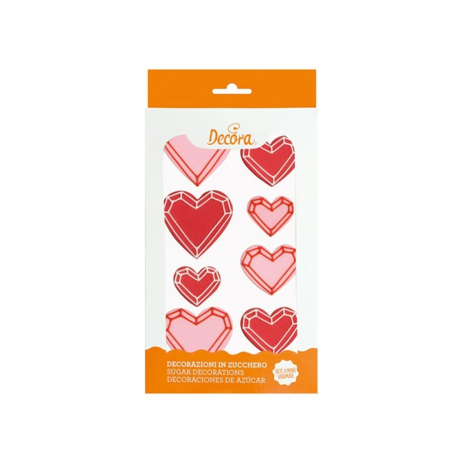 Sugar Decorations - Geometric Hearts - 8pcs - Decora