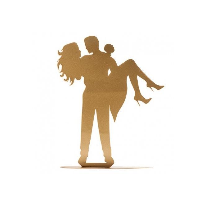 Golden Silhouette Couple Topper  - 18 cm - Dekora