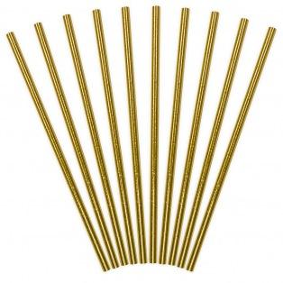 Golden Paper Straws - 10pcs - PartyDeco