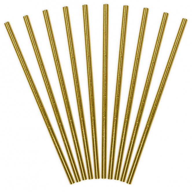 Golden Paper Straws - 10pcs - PartyDeco