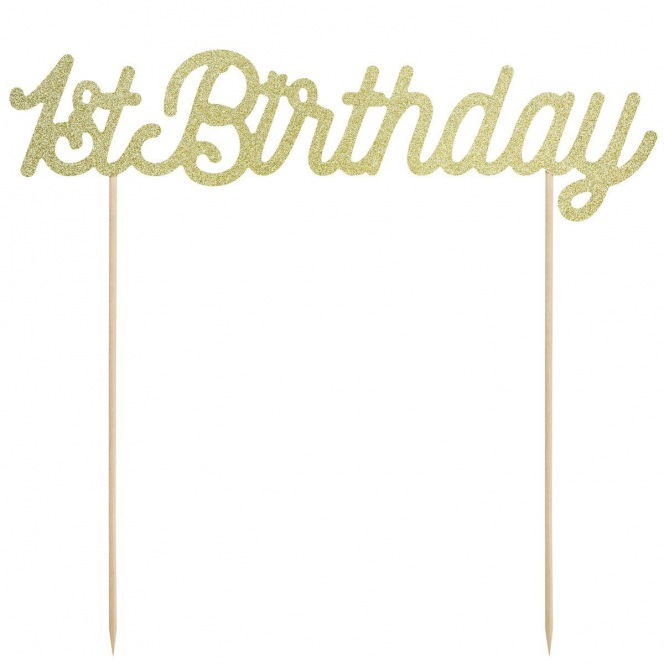 PartyDeco Cake Topper 1st Birthday - Gold