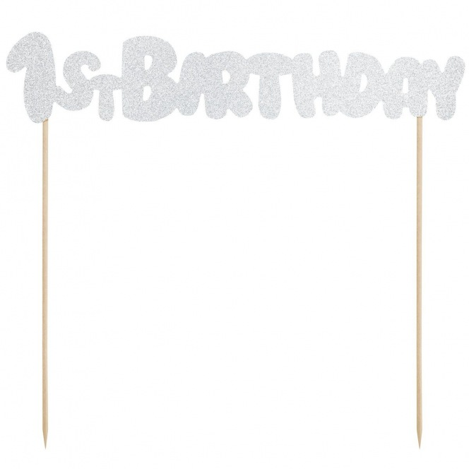 PartyDeco Cake Topper 1st Birthday - Silver