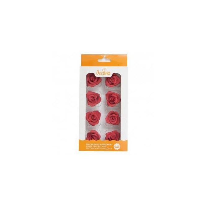 Sugar Decoration - Medium Rose Red - 8pcs - Decora