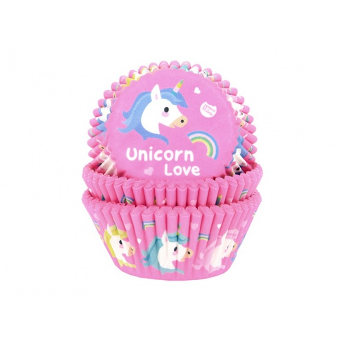 House of Marie Baking cups Unicorn Love - pk/50