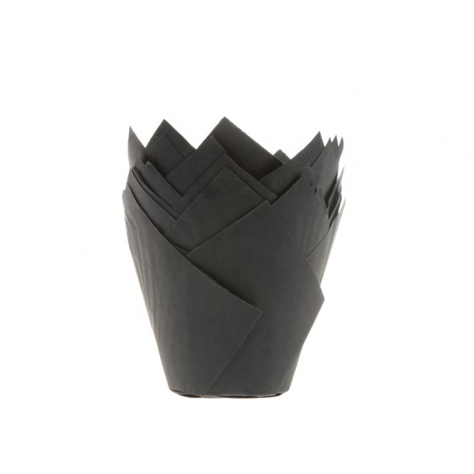 Tulip Baking Cups Black pk/36