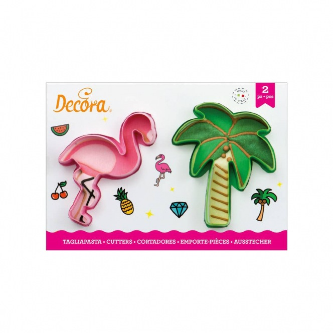 Flamingo and palm cutters - 2 pcs - Decora