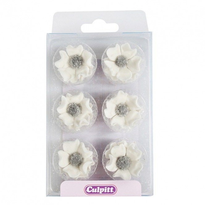 Sugar Decorations Anemones White pk/12 Culpitt
