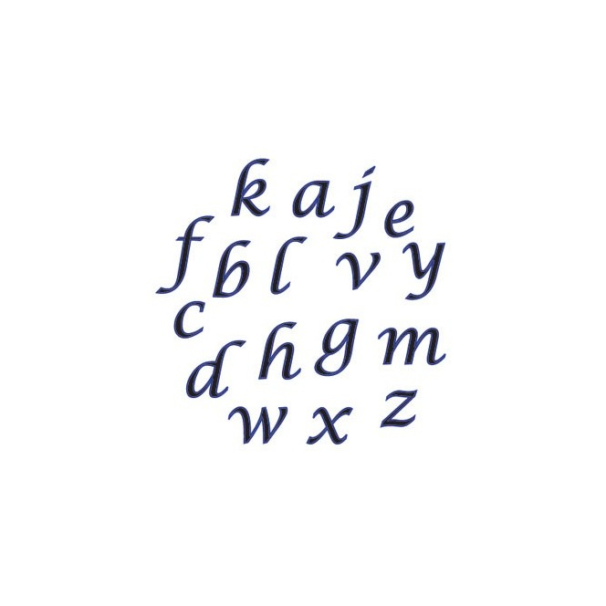 Alphabet tappits Lower Case SCRIPT- FMM