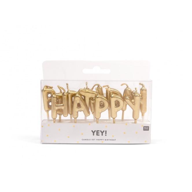 Rico Design Yey - Anniversary Candle - Golden Happy Birthday